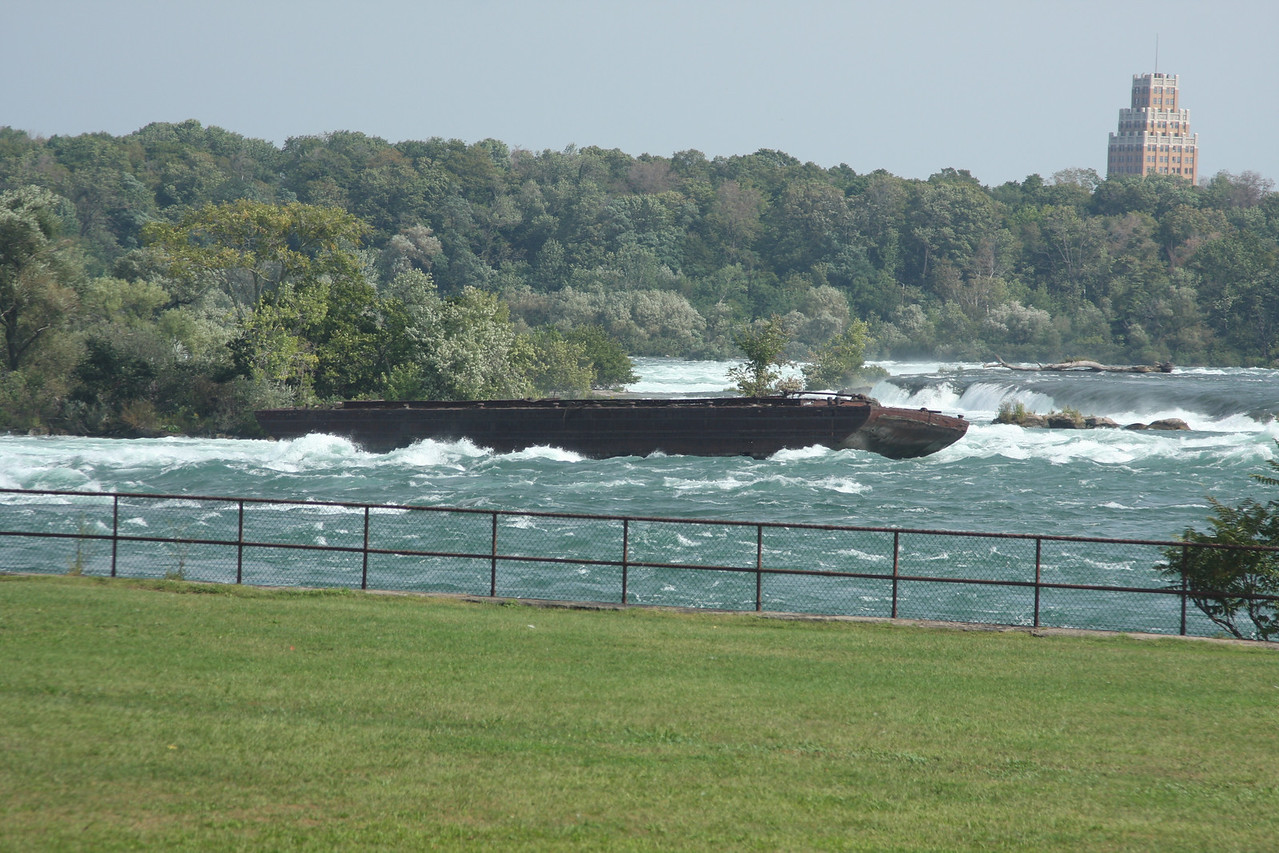 Barge stuck in the falls