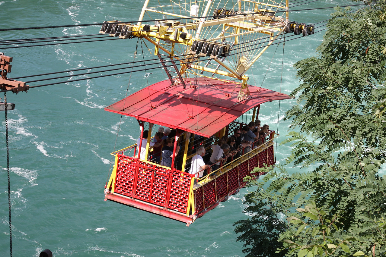 Visitors riding over the whirlpool