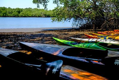 Kayaks ready to go.