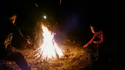 Toasting marshmallows.