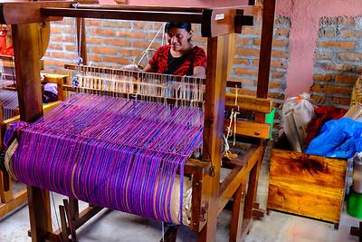 Weaving loom in action.