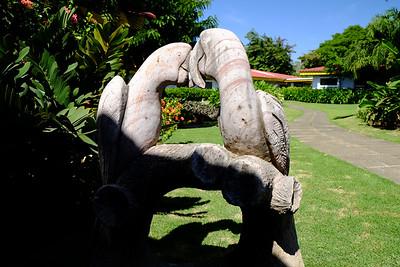 Stone Toucan statue.