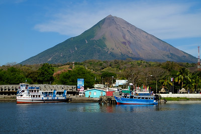 Docking at Ometepe, Moyogalpa, and volcano Concepcion.