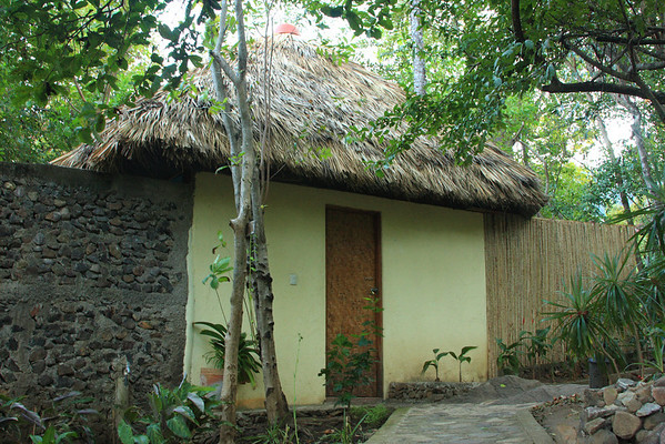 Our Cabana complete with thatched roof and outdoor bathroom behind wall on the left