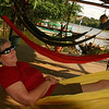 Rio San Juan - Jackie relaxing on the verandah at Sabalos Lodge
