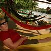 Rio San Juan - Jackie relaxing on the verandah at Sabalos Lodge