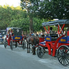 Granada - Horse-drawn taxis waiting at Parque Colon