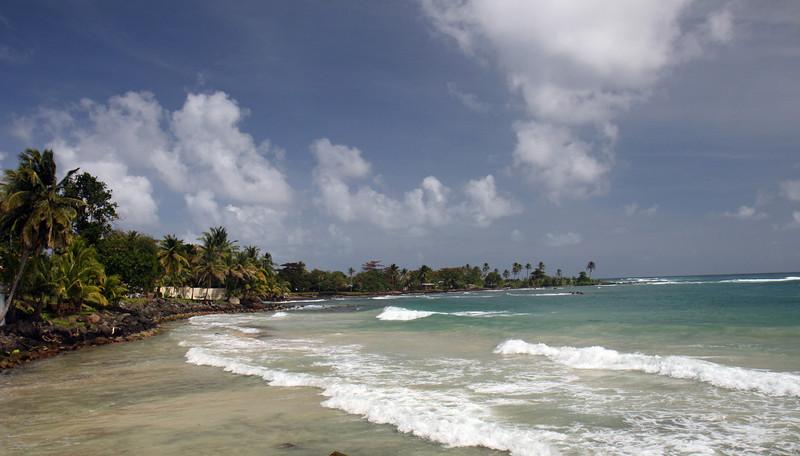 Big Corn Island - Wind-blown beach on the east side of the island
