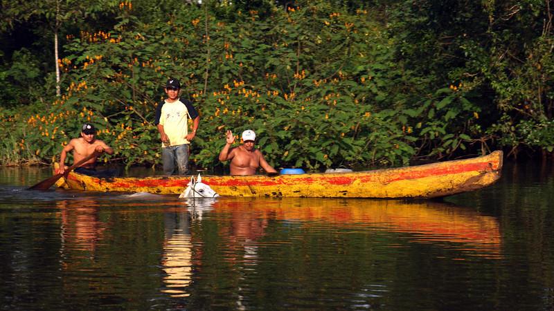 Nicaragua 2011: Rio San Juan - Rural scene along the river (taking their horse for a swim?)