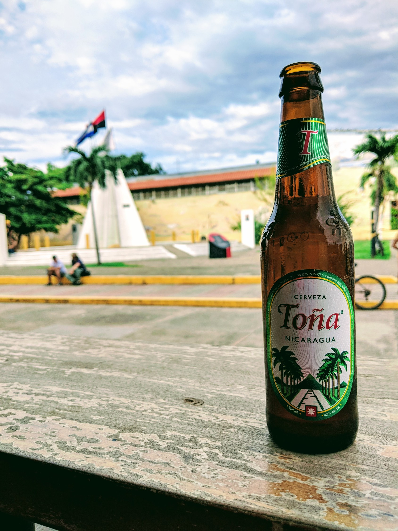 Tona beer, national beer of Nicaragua on a railing in Leon looking out onto the main square.