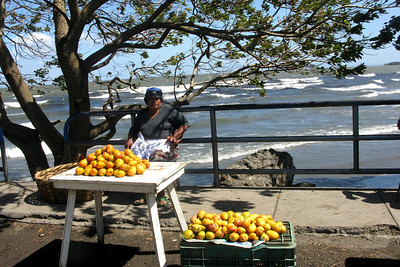 We left Granada for Isla de Ometepe, an island in Lago Cocibolca (a.k.a. Lake Nicaragua). This woman sold delicious sweet ripe mangoes near the ferry dock.