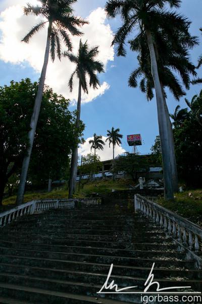 Palm lined staircase leading up Tiscapa hill, Parque Histórico Nacional Loma de Tiscapa, Managua