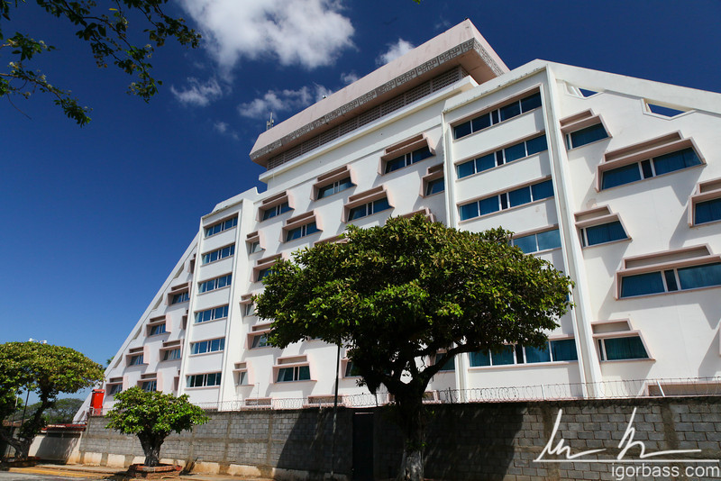 Crowne Plaza hotel - built in tiers like a Mayan pyramid this was one of the few buildings to have survived the 1972 earthquake, Managua