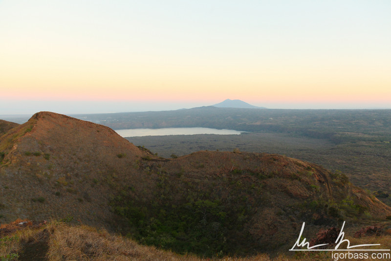 Nidiri Crater lip, view towards Lake Masaya, Masaya Volcano National Park