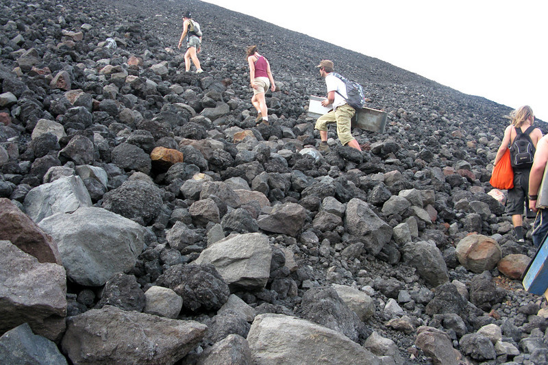 We climbed up the rocky side of el volcan.