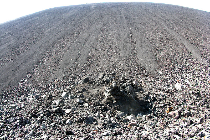 Looking up the looong, steep slope of Cerro Negro
