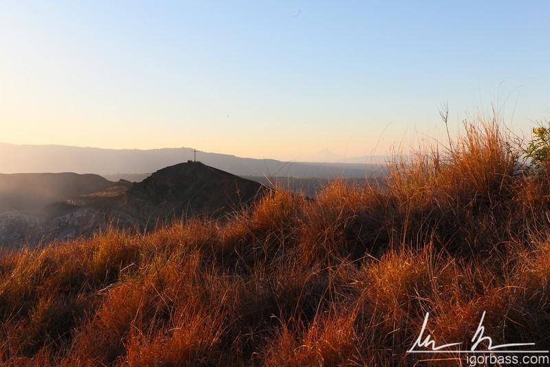 Hiking up Nindiri crater, view back towards Cruz de Bobadila, Masaya Volcano National Park