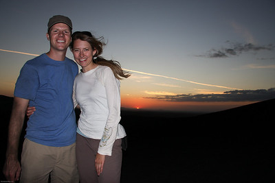 Beau and Meggan post Volcano Boarding on Cerro Negra.  Notice we're covered in ash.  Leon, Nicaragua.