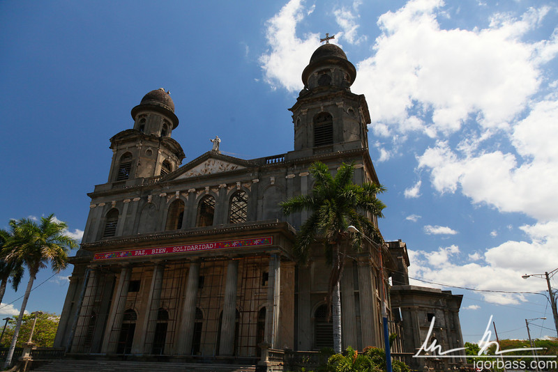 Ruins of the old cathedral (Catedral de Santiago) which was heavily damaged by the 1972 Managua earthquake. Long left as an empty facade, restoration work is now planned. Plaza de la Revolución, Managua