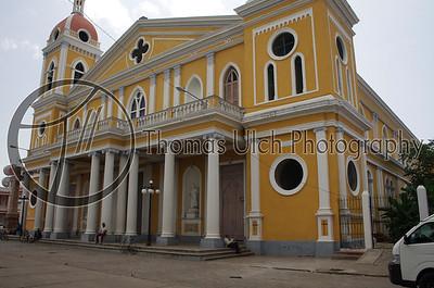 Catedral de Granada in the main square.   Granada, Nicaragua.