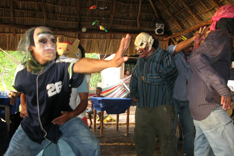 And then this happened. About six masked locos started dancing like crazy in front of the mostly local crowd.