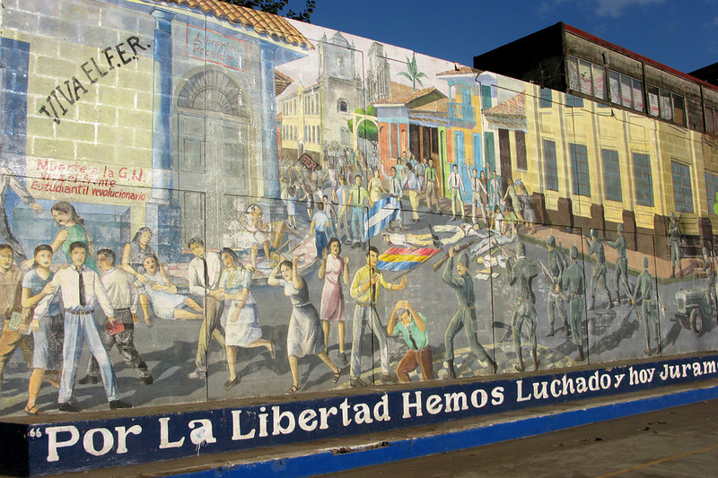 Leon is also known for being a center of leftist thought--a university city, a hometown of famous poets and, during the Sandinista movement of the 1970s, a stronghold of revolutionaries. There are political-themed murals all over the city, like this one depicting a student revolution against the dictatorship's National Guard.