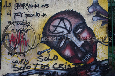 """What this says in English is """"Ignorance is the worst sin of a nation and the best [tool] of a tyrant."""" Graffiti on the wall outside UCA.  Managua, Nicaragua."""