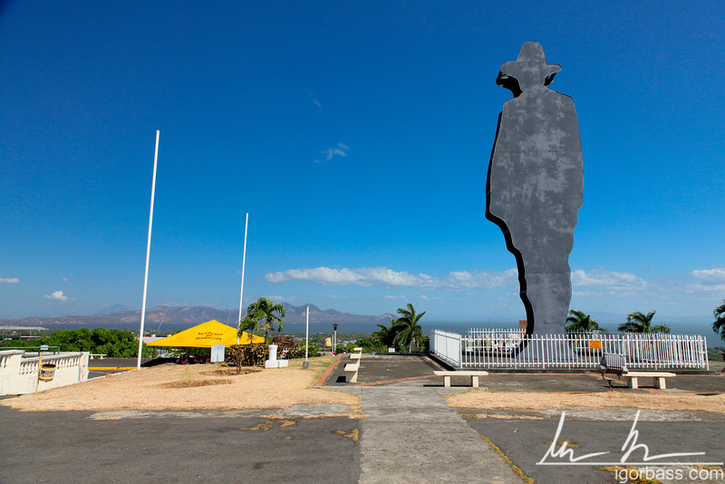 Monument to Sandino which is a silhouette of Augusto C. Sandino, one of Nicaragua's national heroes at the top of hill Tiscapa, Parque Histórico Nacional Loma de Tiscapa, Managua [another view]