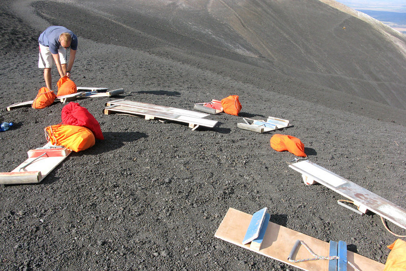 Volcano boards and orange bags, which held everyone's protective jumpsuit and goggles.
