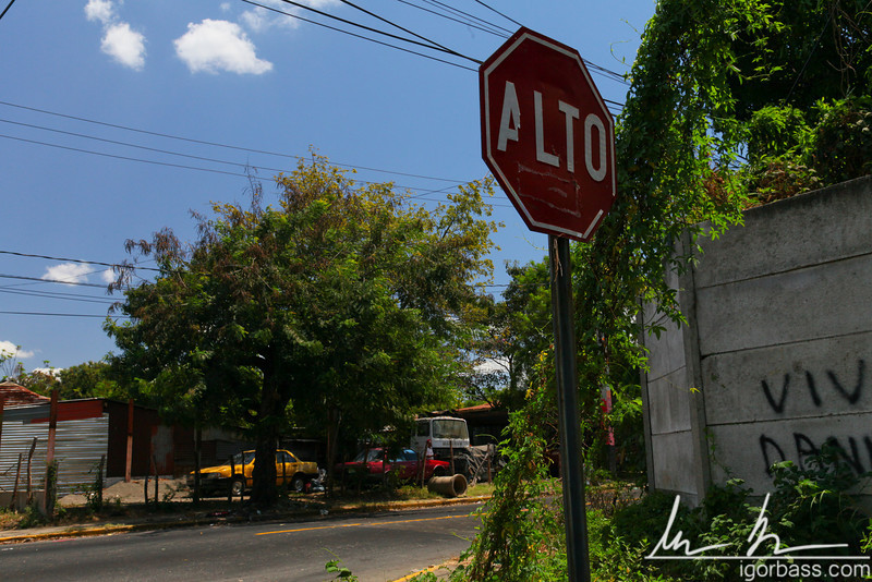 Stop sign at an intersection, Managua
