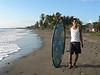 Gabriel's first attempt at surfing.