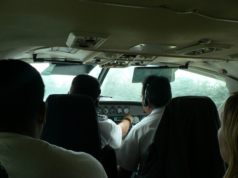 The takeoff from the dirt strip was rather sketchy in the high wind.  But here we are safely on the way back to Managua.