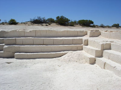 A lack of building materials meant that homes were made from shell blocks.