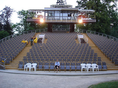 The rotating theatre in the castle gardens, we saw the Three Musketeers it was brilliant.