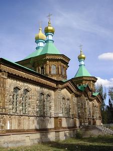 The wooden Russian church in Karakol