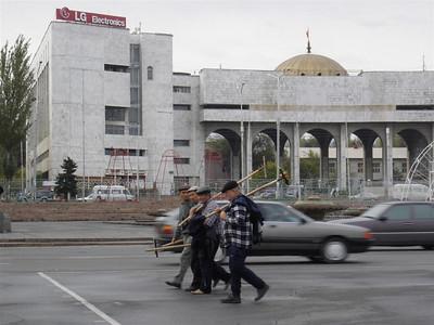 Workers in downtown Bishkek