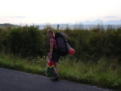 We had to walk the last bit to the campsite. The High Tatras are in the background