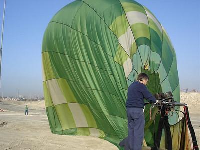 Green Goddess deflating in the desert