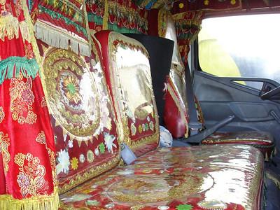 Farook's cab, like a temple