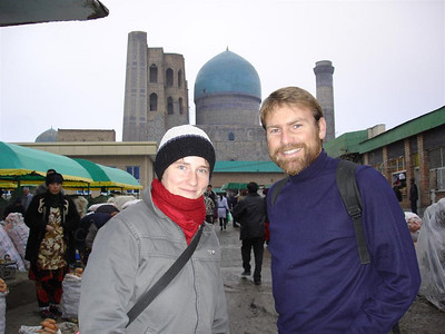 Ameena, our new Rugby convert, and me in Samarkand bazaar on the cold first day.