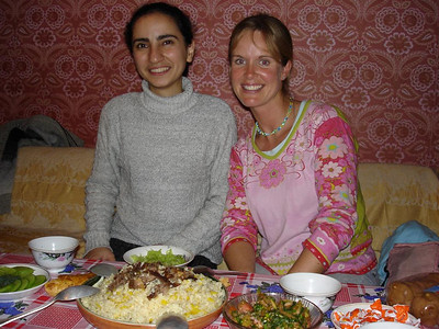 Maria - Zakir's girlfriend from Azerbaijan with Nicky and a yummy Plov