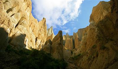 Clay Cliffs, Omarama. Zuidereiland, Nieuw-Zeeland.