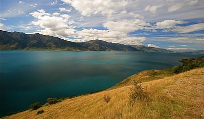 Lake Hawea the next day, Wanaka. Zuidereiland, Nieuw-Zeeland.