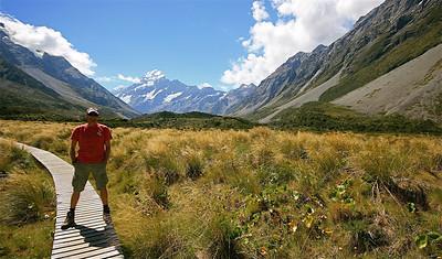 Hooker Valley Track, Mount Cook National Park. Zuidereiland, Nieuw-Zeeland.