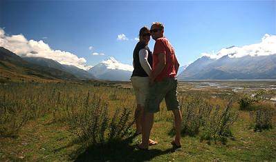 Models Inc in Mount Cook National Park. Zuidereiland, Nieuw-Zeeland.