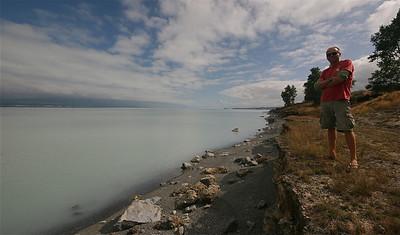 Lake Pukaki met op de achtergrond Mount Cook. Zuidereiland, Nieuw-Zeeland.