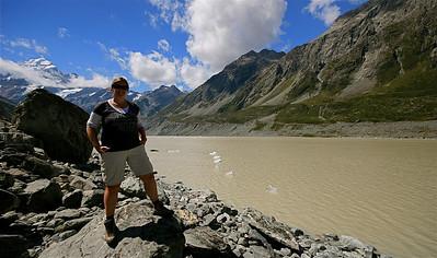 Hooker Glacier, Mount Cook National Park. Zuidereiland, Nieuw-Zeeland.