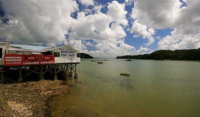 Mangonui Fish Shop, Northland. Noordereiland, Nieuw-Zeeland.