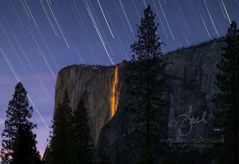 Yosemite Firefall Startrails  ©2021. Janelle Orth