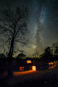 Glowing Barn under the Milky Way